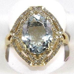 Oval Aquamarine & Diamond Halo Ring 14k YG 3.37Ct